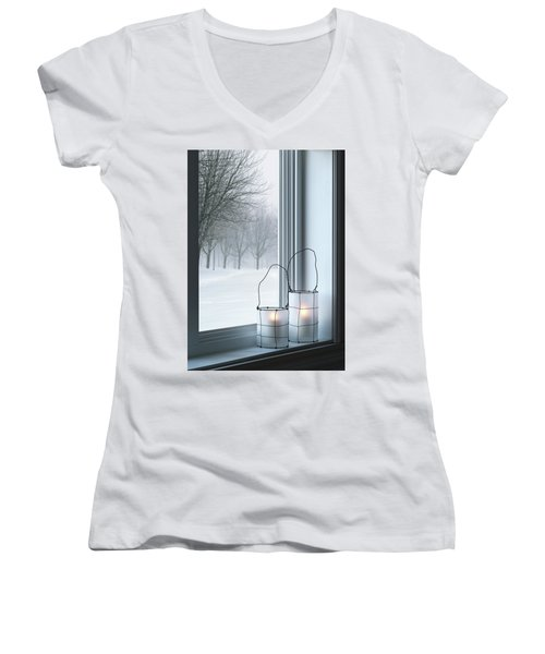 Cozy Lanterns And Winter Landscape Seen Through The Window Women's V-Neck (Athletic Fit)