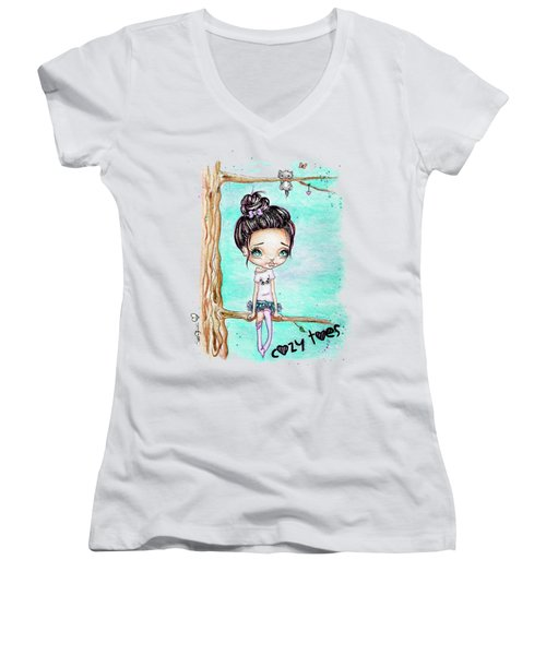 Women's V-Neck T-Shirt (Junior Cut) featuring the painting Cozy Toes by Lizzy Love