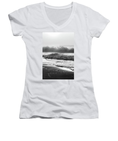 Women's V-Neck T-Shirt (Junior Cut) featuring the photograph Crashing Wave At Beach Black And White  by John McGraw