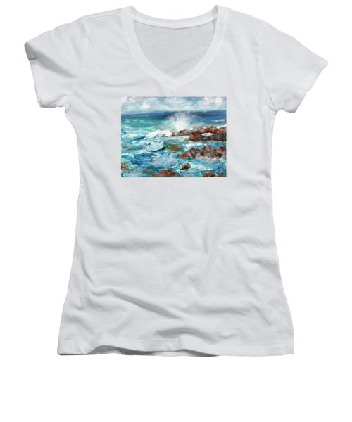 Crashing Waves Women's V-Neck T-Shirt (Junior Cut) by Walter Fahmy