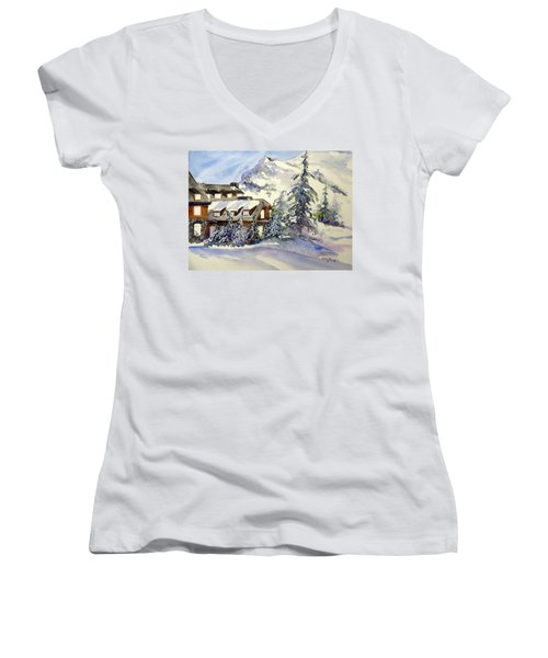 Crater Lake Lodge - Closed For Winter    Women's V-Neck (Athletic Fit)