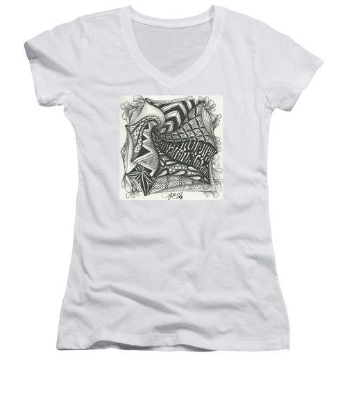 Crazy Spiral Women's V-Neck T-Shirt (Junior Cut) by Jan Steinle