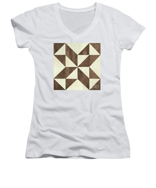 Women's V-Neck T-Shirt (Junior Cut) featuring the painting Cream And Brown Quilt by Debbie DeWitt