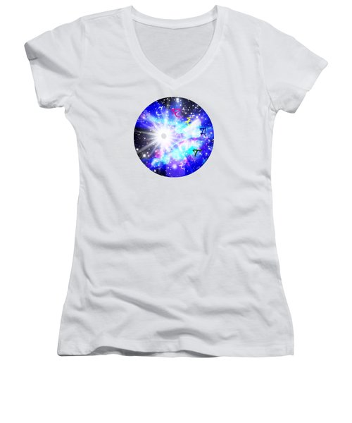 Women's V-Neck T-Shirt (Junior Cut) featuring the digital art Create by Leanne Seymour