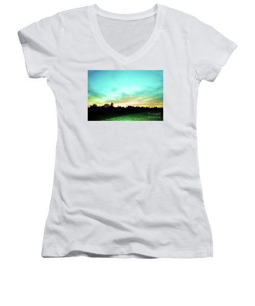 Women's V-Neck T-Shirt (Junior Cut) featuring the photograph Creator's Sky Painting by Polly Peacock