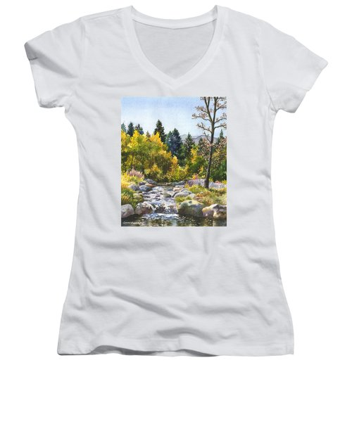 Creek At Caribou Women's V-Neck T-Shirt (Junior Cut) by Anne Gifford