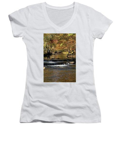 Creek Water Flowing Through Woods In Autumn Women's V-Neck