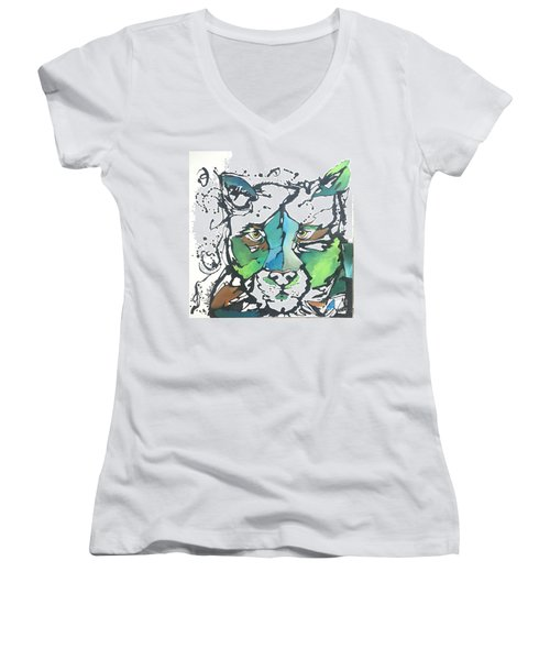 Women's V-Neck T-Shirt (Junior Cut) featuring the painting Creep by Nicole Gaitan