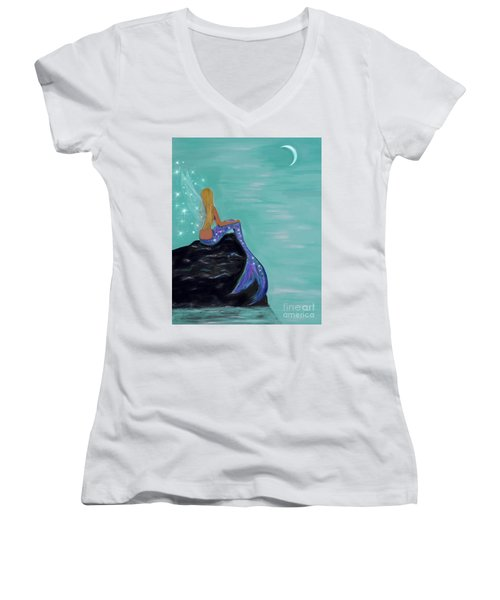 Women's V-Neck T-Shirt featuring the painting Crescent Mermaid Moon Fairy by Leslie Allen