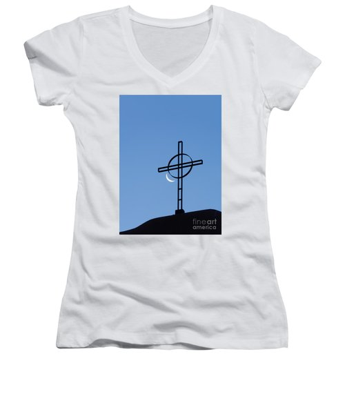 Crescent Moon And Cross Women's V-Neck