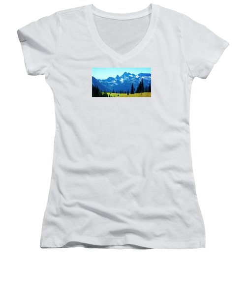 Women's V-Neck T-Shirt (Junior Cut) featuring the photograph Crests And Gaps by Timothy Bulone