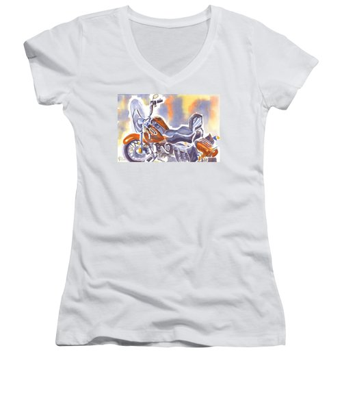 Crimson Motorcycle In Watercolor Women's V-Neck