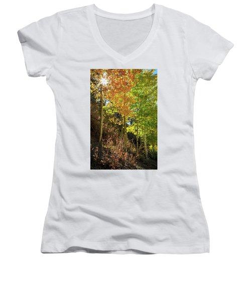 Women's V-Neck T-Shirt (Junior Cut) featuring the photograph Crisp by David Chandler