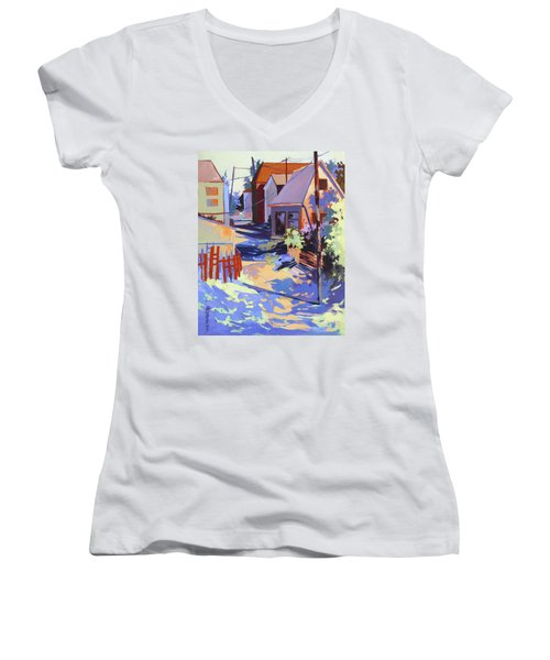 Women's V-Neck T-Shirt (Junior Cut) featuring the painting Crisscross by Rae Andrews