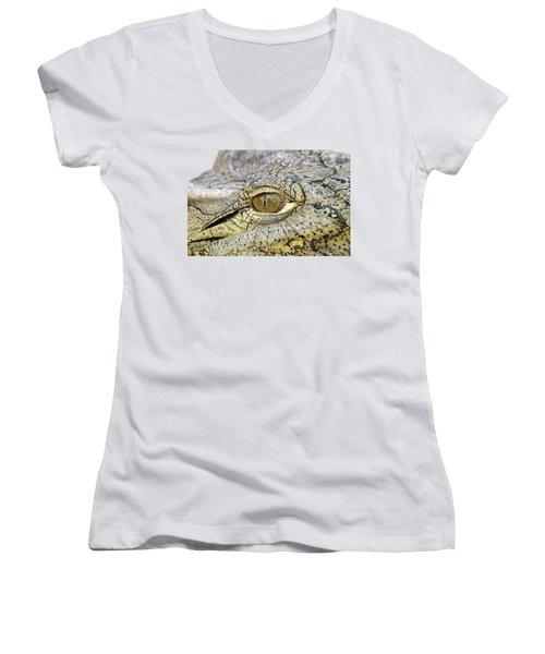 Women's V-Neck T-Shirt (Junior Cut) featuring the photograph Crocodile Eye by George Atsametakis