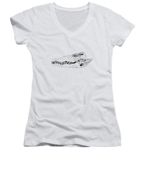Crocodile Skull Women's V-Neck T-Shirt (Junior Cut) by Yuriy Shachnev