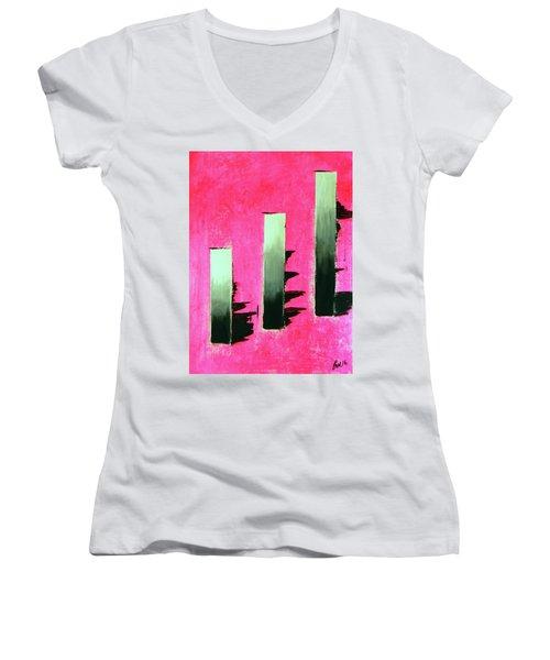 Crooked Steps Women's V-Neck T-Shirt (Junior Cut) by Everette McMahan jr