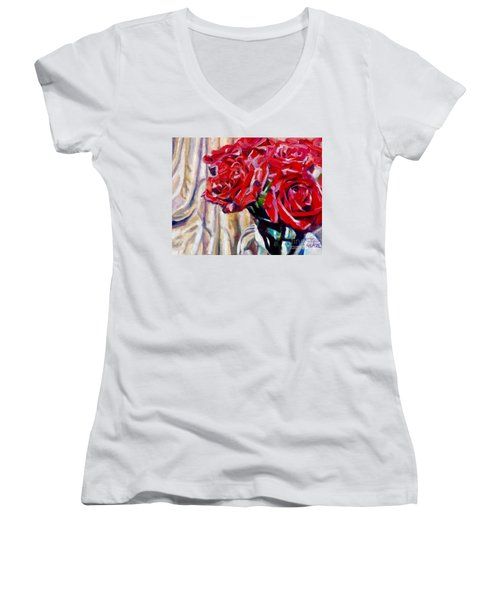 Crimson  Petals Women's V-Neck T-Shirt