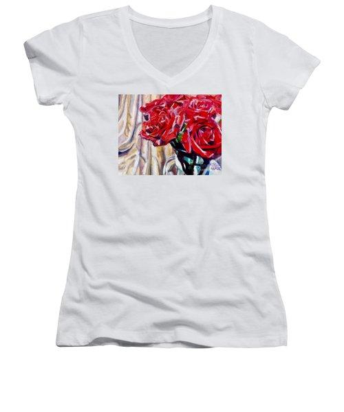 Crimson  Petals Women's V-Neck (Athletic Fit)