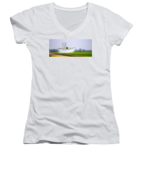 Precision Flying - Crop Dusting 1 Of 2 Women's V-Neck T-Shirt (Junior Cut) by Charlie Brock