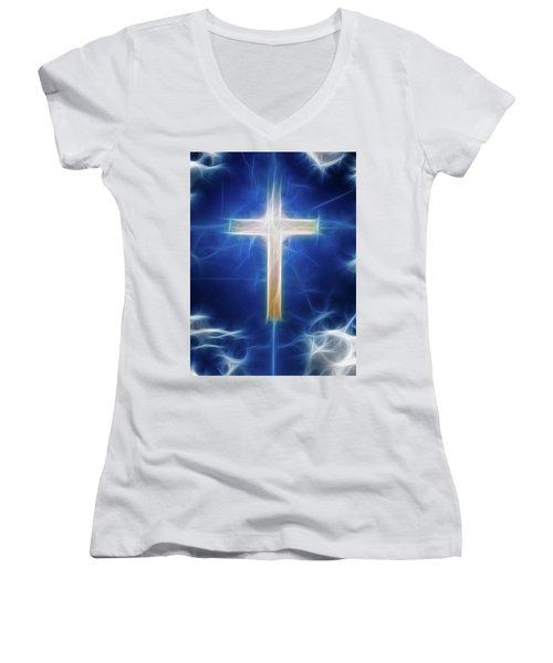 Cross Abstract Women's V-Neck T-Shirt (Junior Cut) by Bruce Rolff