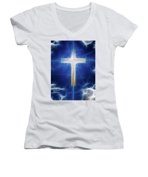 Cross Abstract Women's V-Neck T-Shirt