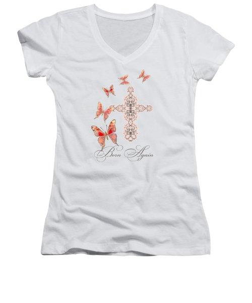 Cross Born Again Christian Inspirational Butterfly Butterflies Women's V-Neck T-Shirt (Junior Cut) by Audrey Jeanne Roberts