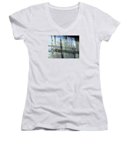 Crosses In The Window Women's V-Neck T-Shirt (Junior Cut) by Cheryl Del Toro