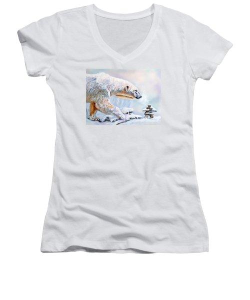 Crossroads Women's V-Neck T-Shirt (Junior Cut) by J W Baker