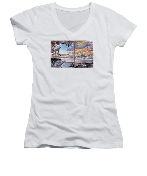 Women's V-Neck T-Shirt (Junior Cut) featuring the photograph Cruise Port - Light by Hanny Heim