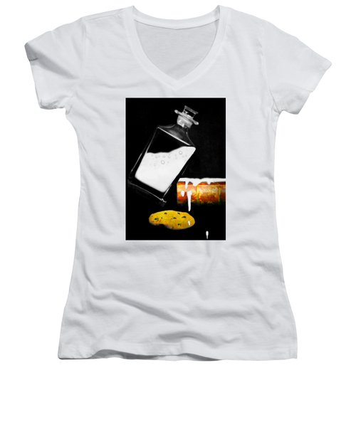 Women's V-Neck T-Shirt (Junior Cut) featuring the photograph Crying Over Spilled Milk by Diana Angstadt
