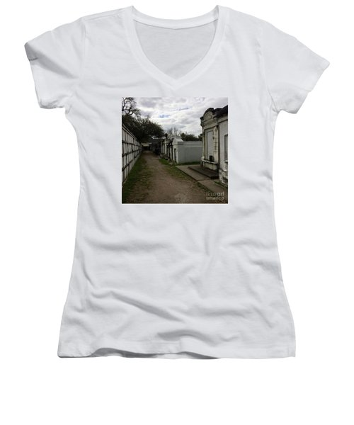 Women's V-Neck T-Shirt (Junior Cut) featuring the photograph Crypts by Kim Nelson