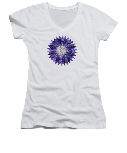Women's V-Neck T-Shirt (Junior Cut) featuring the mixed media Crystal Magic Mandala by Leanne Seymour