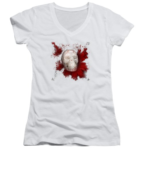 Crystal Skull With Red On Transparent Background Women's V-Neck T-Shirt (Junior Cut) by Terri Waters