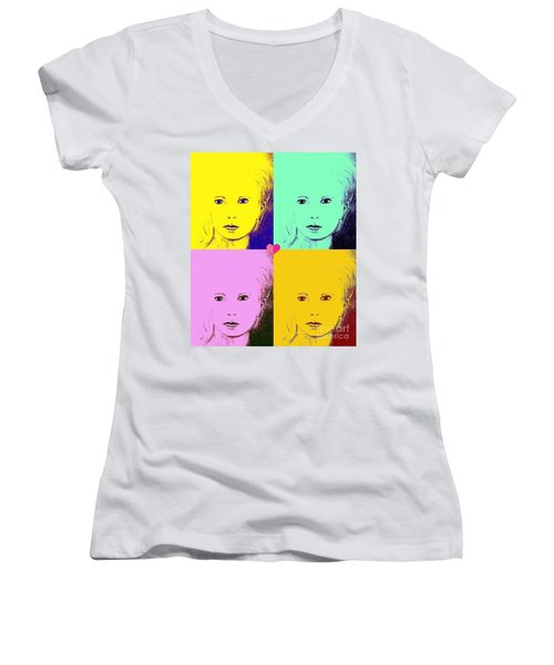 Crystal X 4 Women's V-Neck T-Shirt (Junior Cut)
