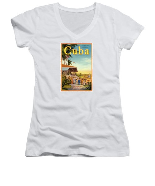 Cuba-come To Havana Women's V-Neck T-Shirt (Junior Cut) by Nostalgic Prints