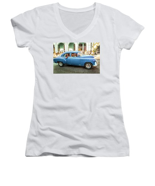 Cuban Taxi Women's V-Neck (Athletic Fit)