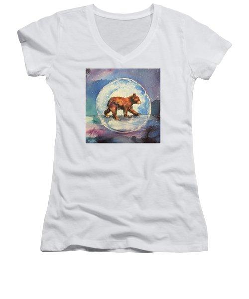Cubbie Bear Women's V-Neck T-Shirt (Junior Cut) by Christy Freeman