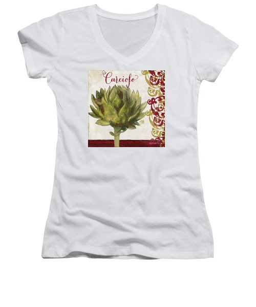 Cucina Italiana Artichoke Women's V-Neck T-Shirt (Junior Cut) by Mindy Sommers