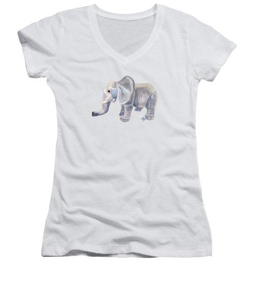 Cuddly Elephant II Women's V-Neck T-Shirt (Junior Cut) by Angeles M Pomata