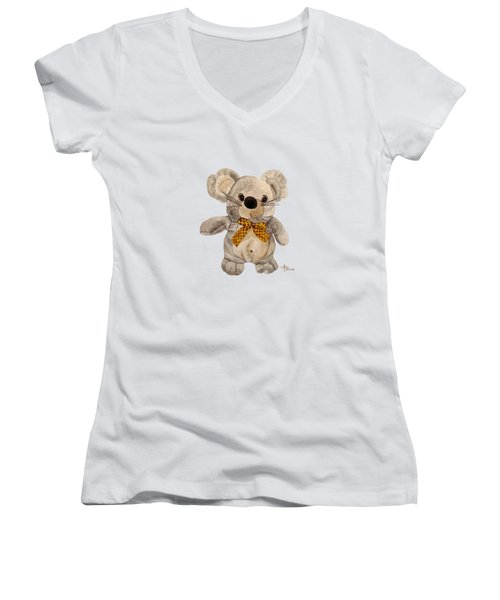 Cuddly Mouse Women's V-Neck T-Shirt (Junior Cut) by Angeles M Pomata