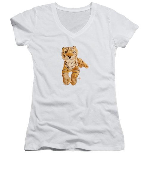 Cuddly Tiger Women's V-Neck T-Shirt (Junior Cut) by Angeles M Pomata