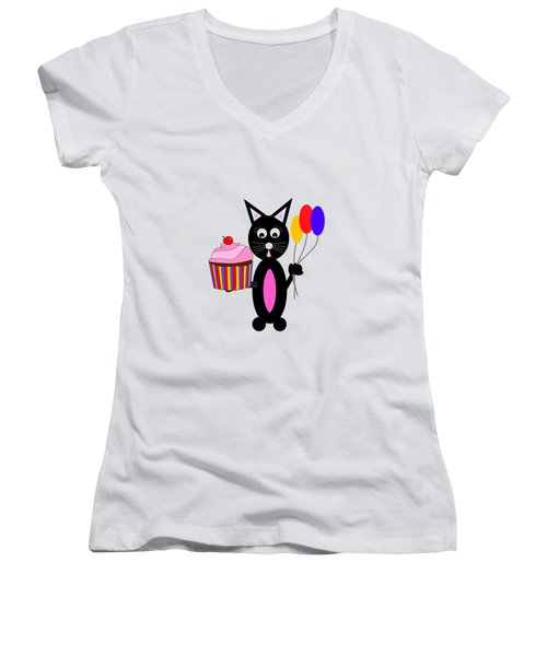 Cup Cake Party Women's V-Neck T-Shirt (Junior Cut) by Kathleen Sartoris