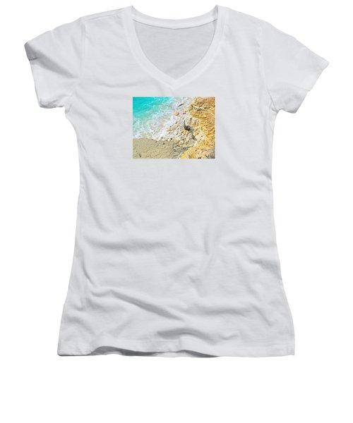 The Sea Below Women's V-Neck T-Shirt (Junior Cut) by Expressionistart studio Priscilla Batzell