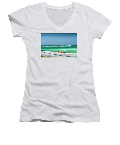 Curious Bikini Clad  Sunbather Women's V-Neck T-Shirt