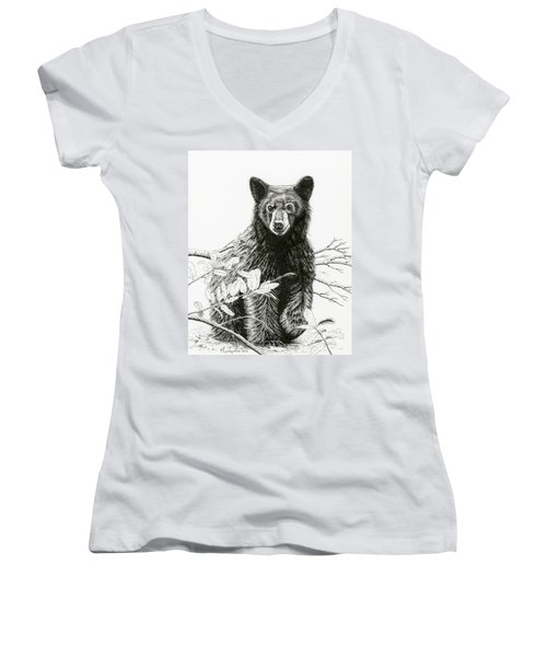 Curious Young Bear Women's V-Neck (Athletic Fit)