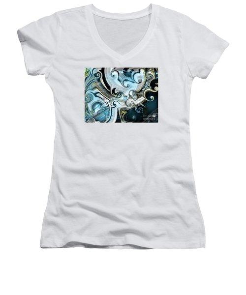 Curves Ahead Women's V-Neck T-Shirt (Junior Cut) by Yul Olaivar