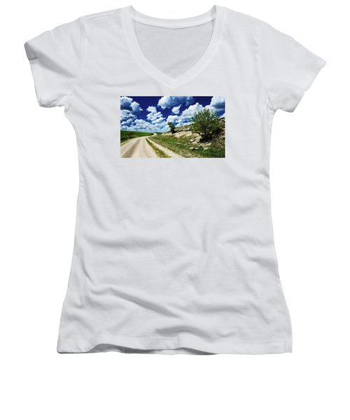 Curving Gravel Road Women's V-Neck T-Shirt