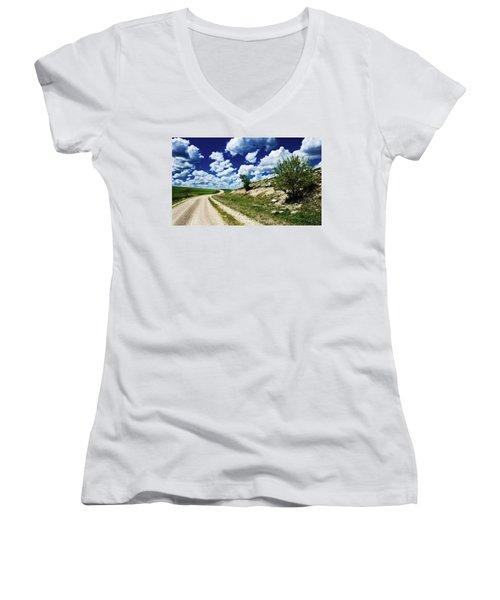 Curving Gravel Road Women's V-Neck T-Shirt