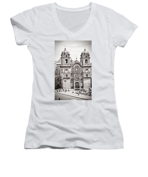 Cusco Cathedral Women's V-Neck T-Shirt (Junior Cut) by Darcy Michaelchuk